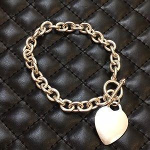 Bebe Silver Link Tennis Heart Charm Bracelet